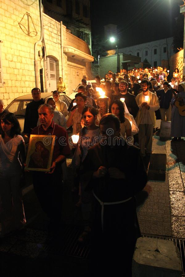 Procession goes through the streets of Nazareth. Every Friday procession goes through the streets of Nazareth, from the Church of St. Joseph to the Basilica of royalty free stock photography