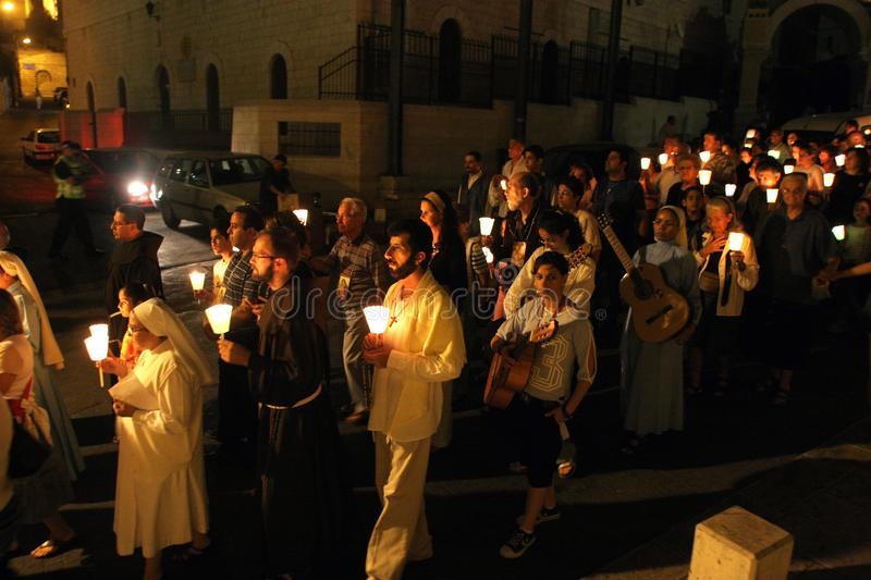 Procession goes through the streets of Nazareth. Every Friday procession goes through the streets of Nazareth, from the Church of St. Joseph to the Basilica of royalty free stock images