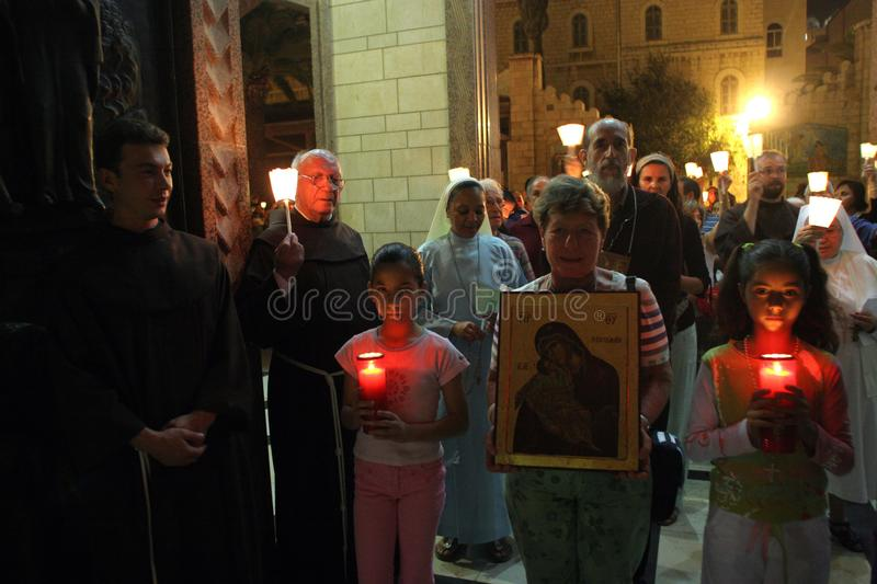 Procession goes through the streets of Nazareth stock photography