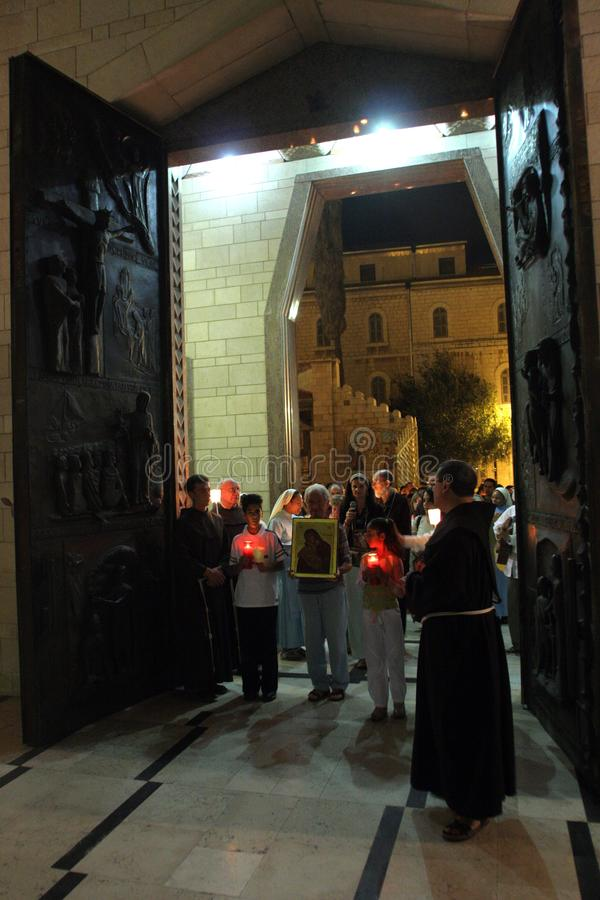 Procession goes through the streets of Nazareth. Every Friday procession goes through the streets of Nazareth, from the Church of St. Joseph to the Basilica of stock image