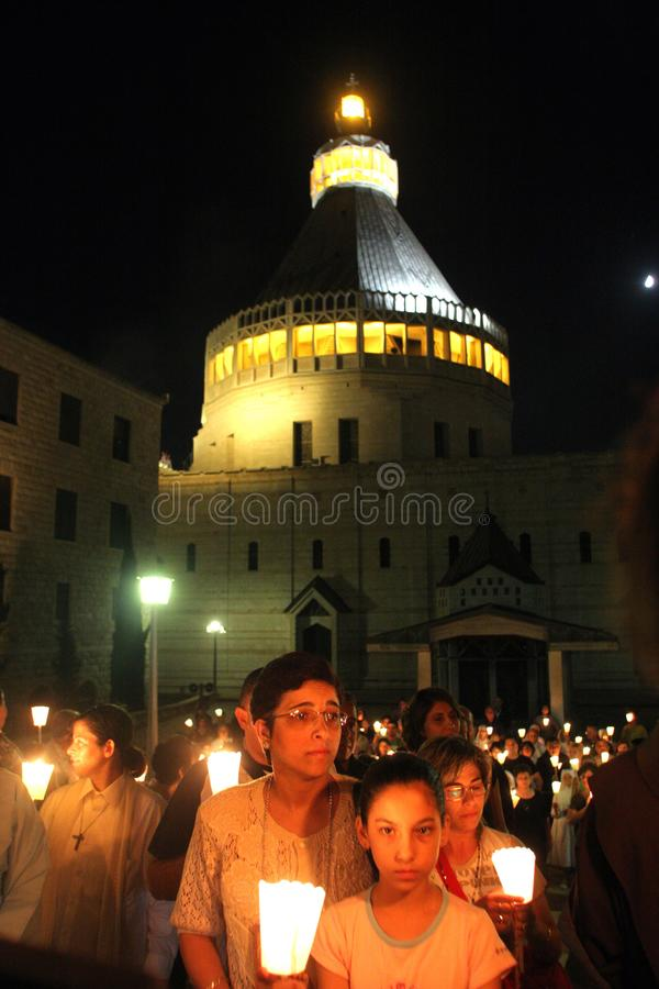 Procession goes through the streets of Nazareth stock image