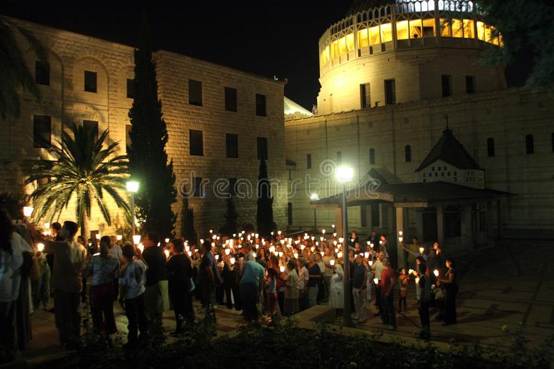 Procession goes through the streets of Nazareth royalty free stock image