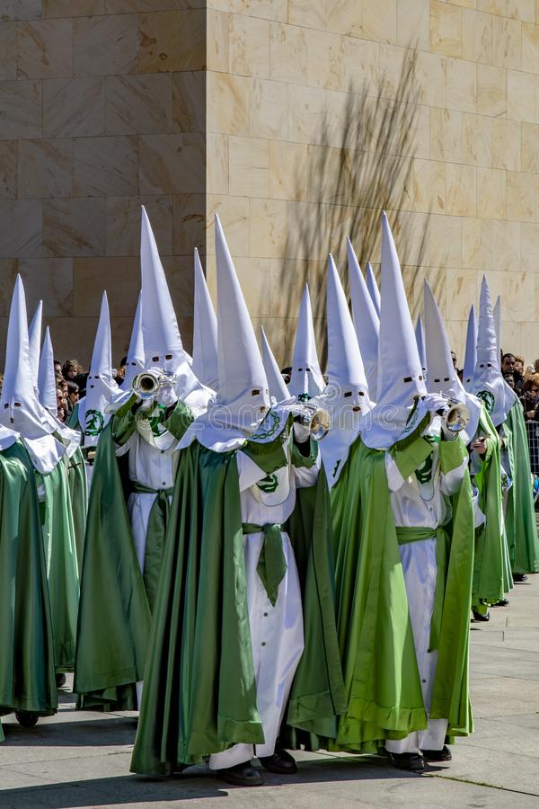 Procession of Holy Week on Good Thursday morning in Zamora royalty free stock images