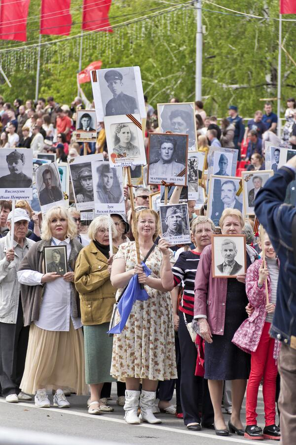 Procession of the people in Immortal Regiment on annual Victory Day royalty free stock photos