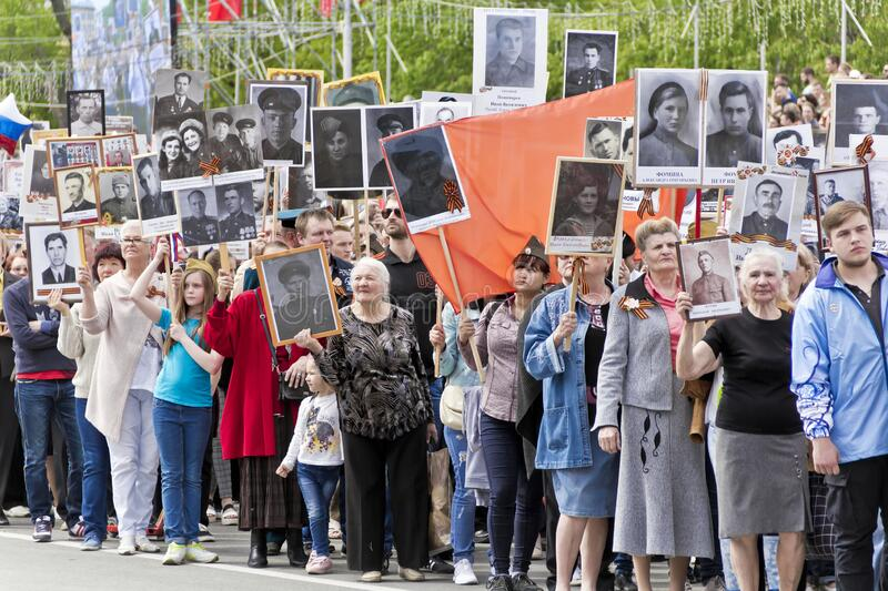 Procession of the people in Immortal Regiment on annual Victory Day stock image