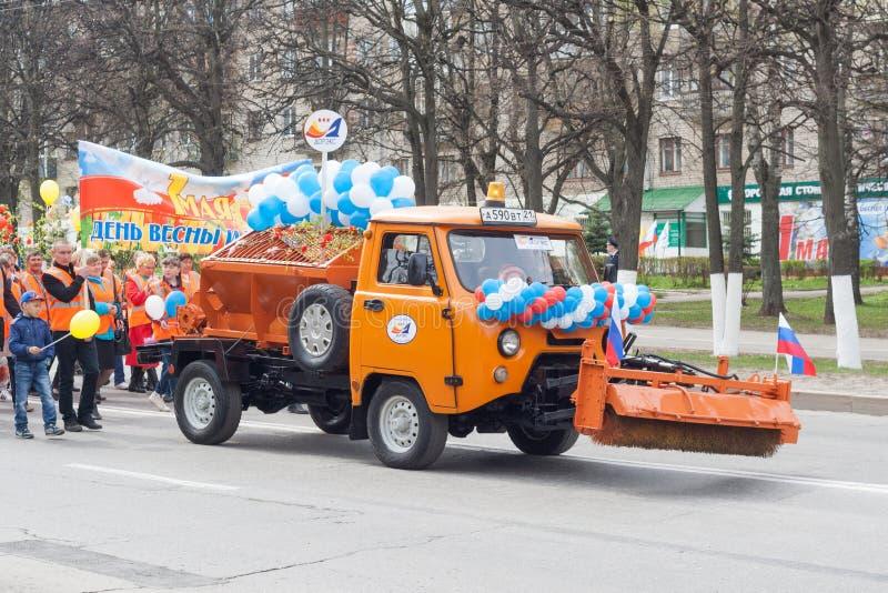 Processionen, ståtar Maj 1, 2016 i staden av Cheboksary, Chuvashrepubliken, Ryssland royaltyfria foton