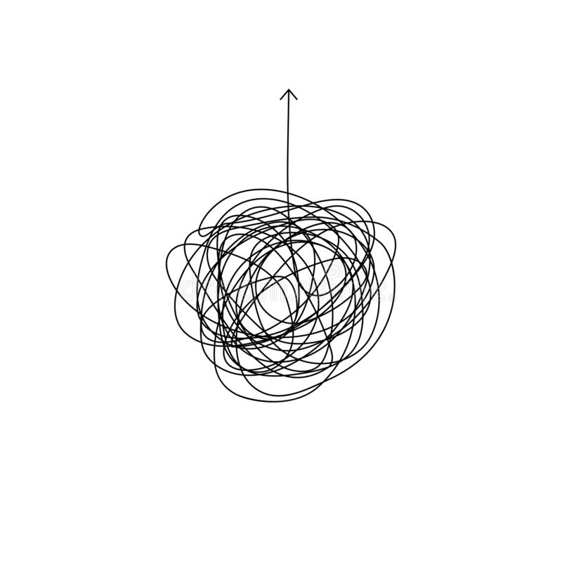 Processo complicato per trovare l'illustrazione della soluzione bugna sudicia insana per trovare il simbolo di uscita linea aggro illustrazione vettoriale