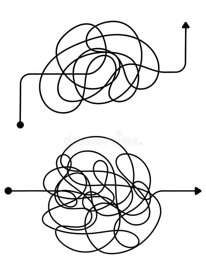 Processo confuso, linea simbolo di caos Concetto aggrovigliato di vettore di idea dello scarabocchio royalty illustrazione gratis