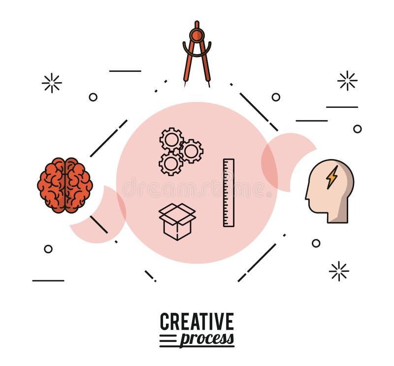 Processo criativo do cartaz colorido com as silhuetas do cérebro e o compasso e a cara com raio ilustração royalty free