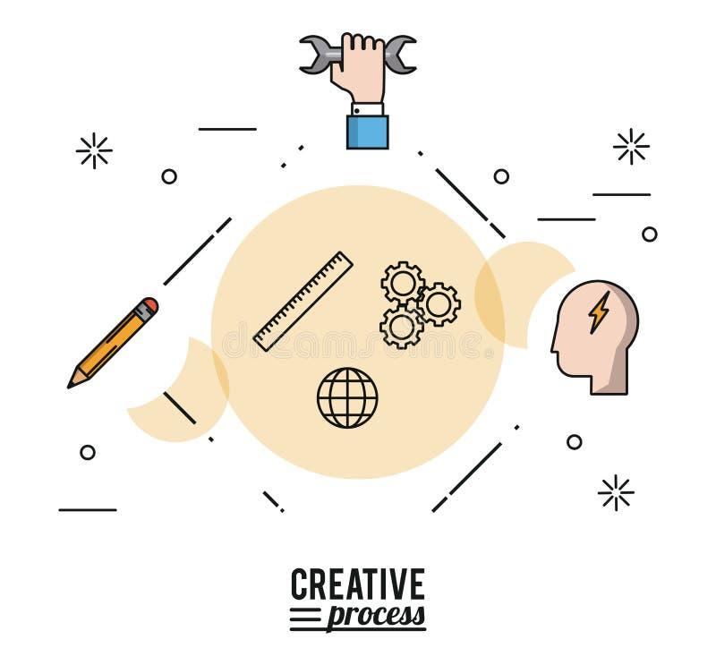 Processo criativo do cartaz colorido com as silhuetas da mão com chave e da cara com raio e lápis ilustração do vetor