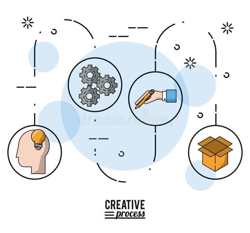 Processo criativo do cartaz colorido com etapas ao desenvolvimento da ideia ilustração stock