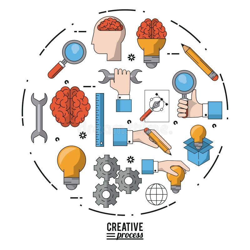 Processo criativo do cartaz colorido com grupo de ícones na forma do círculo ilustração stock