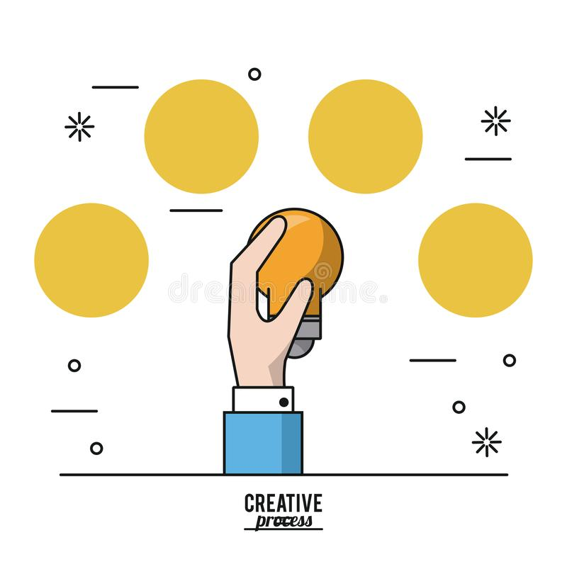 Processo criativo do cartaz colorido de mão com ampola e de círculos amarelos na parte superior ilustração do vetor