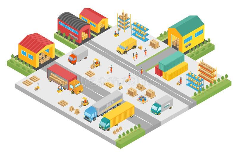 processo 3d isométrico da empresa grande do armazém Armazene construções exteriores esquadram, negócio da entrega, armazenamento  ilustração do vetor
