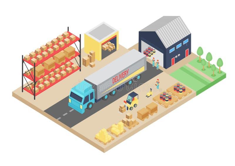 processo 3d isométrico do armazém Ilustração do vetor do armazenamento da carga Interior logístico do armazém, construindo ilustração royalty free