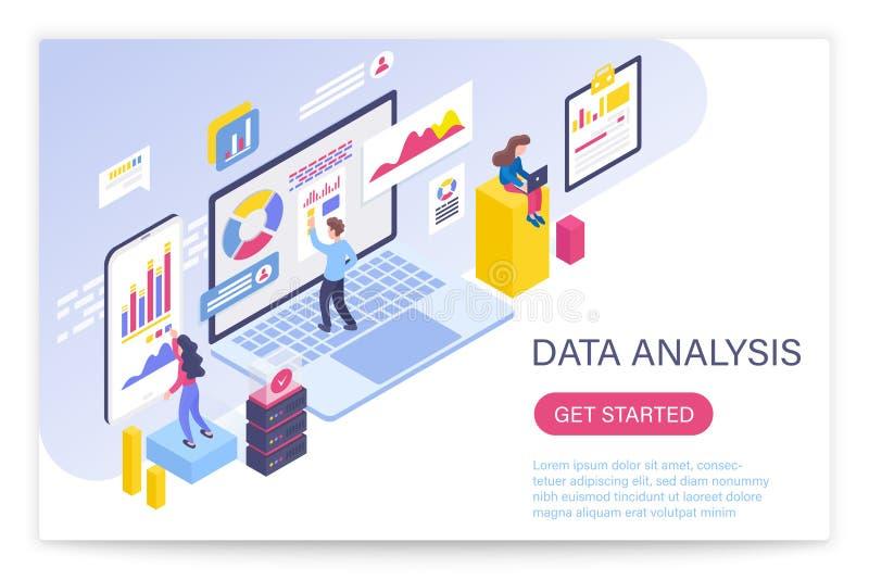 Processo da análise de dados, ilustração isométrica grande do vetor do conceito 3d dos dados Povos que interagem com as cartas da ilustração royalty free