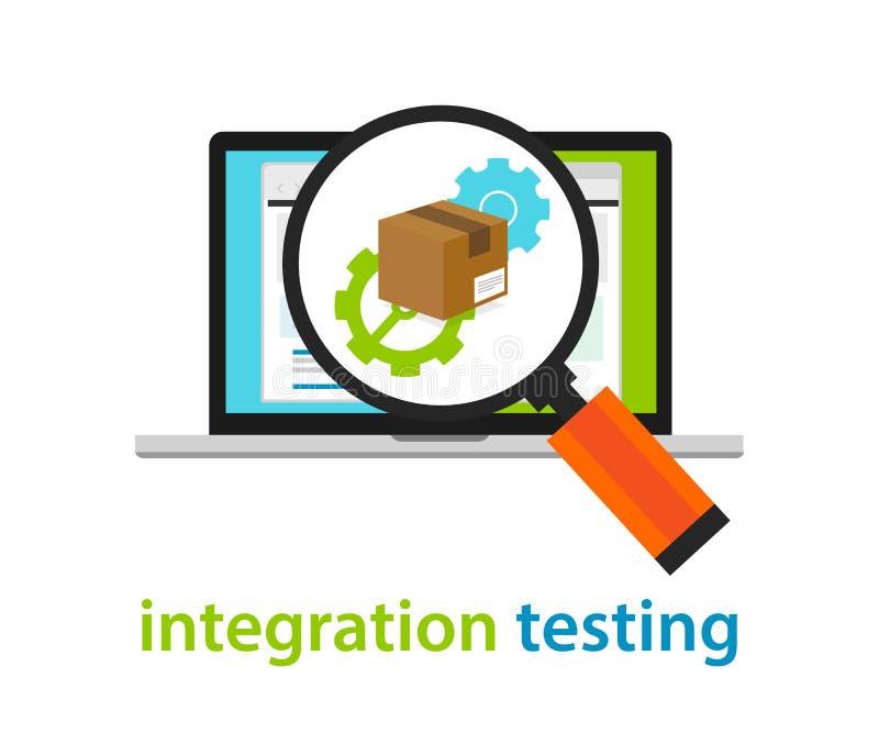 Processo da arquitetura de software dos testes de integração que codifica a revisão de programação da aplicação ilustração stock