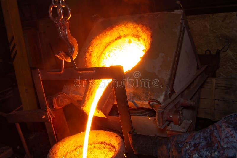 Processo da carca?a do metal com fogo de alta temperatura na f?brica da pe?a de metal foto de stock royalty free