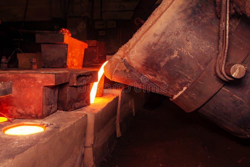 Processo da carca?a do metal com fogo de alta temperatura na f?brica da pe?a de metal fotografia de stock royalty free