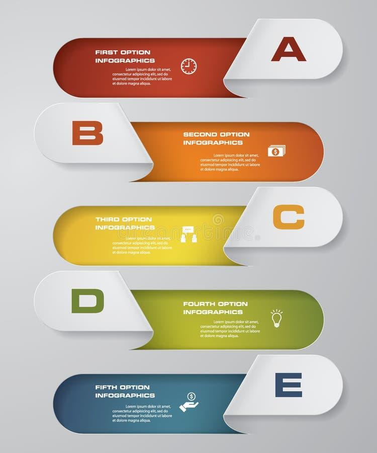 Processo das etapas de Simple&editable 5 Elemento do projeto do sumário de Simple&Editable Vetor ilustração stock