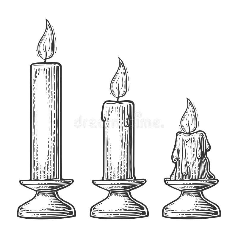 Processo de burning da vela ilustração do vetor