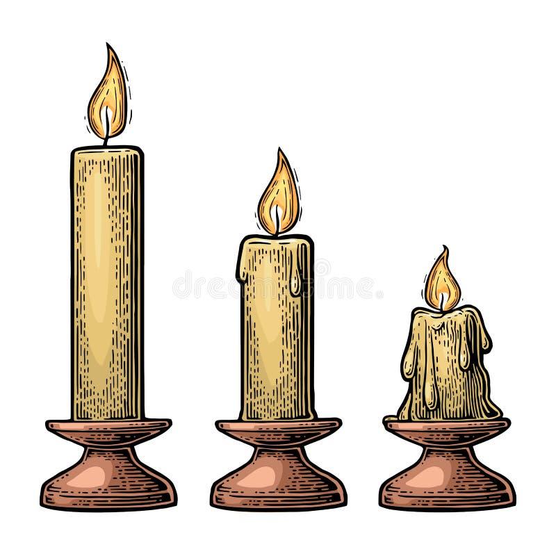 Processo de burning da vela ilustração royalty free