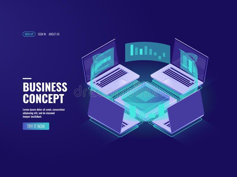 Processo de dados, ícone do visualização dos dados, datacenter e sala grandes do servidor, conexão de Internet, informação ilustração do vetor