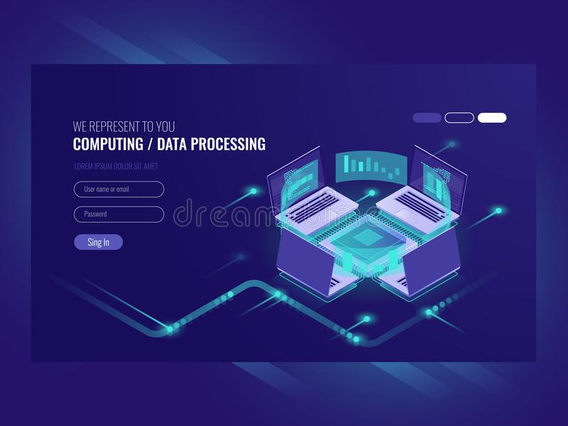 Processo de processo de dados e calculador grande, sala do servidor, sala do servidor dos vps do alojamento web, obscuridade isom ilustração do vetor
