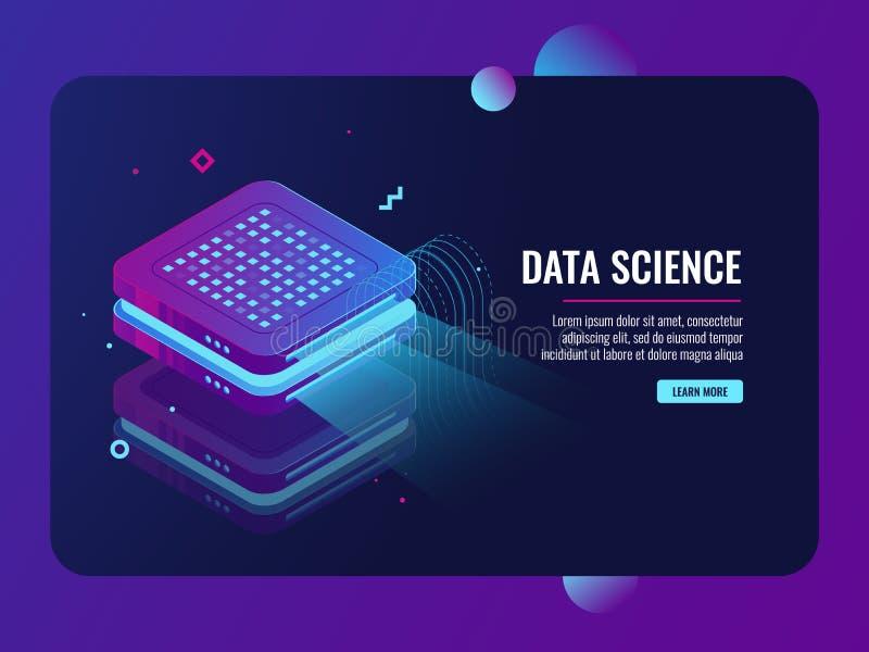 Processo de dados grande, apresentação na máquina do projetor, armazenamento de dados de transferência da nuvem, vetor isométrico ilustração stock
