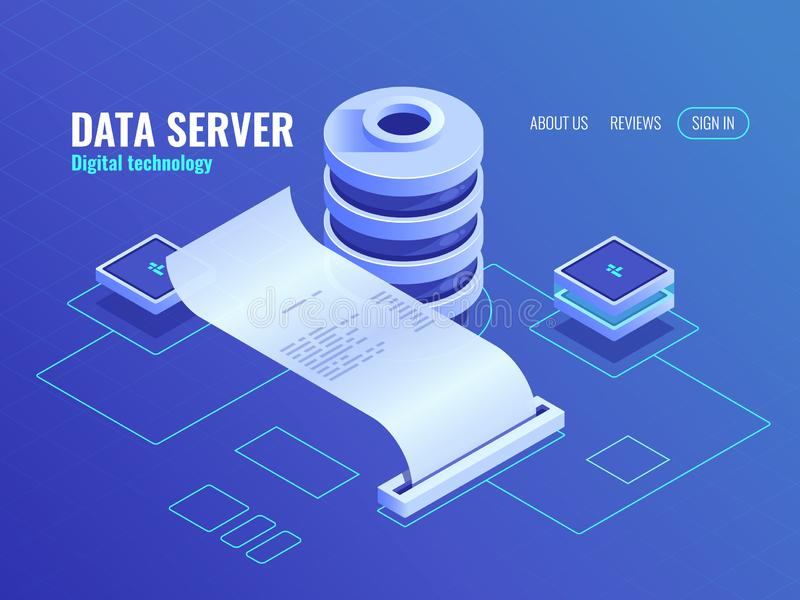 Processo de dados grande e análise do ícone isométrico, informação do banco de dados, processo da saída da cópia da criptografia  ilustração stock
