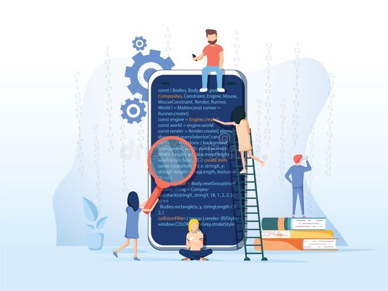 Processo de desenvolvimento de aplicações, fundo móveis da criação de protótipos do API do software e do teste, equipe experiente ilustração do vetor