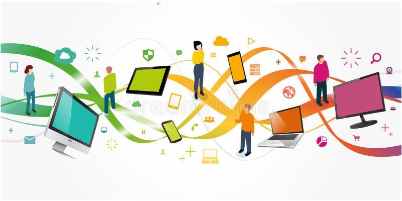 processo de desenvolvimento da aplicação e do design web para responsivo ilustração royalty free