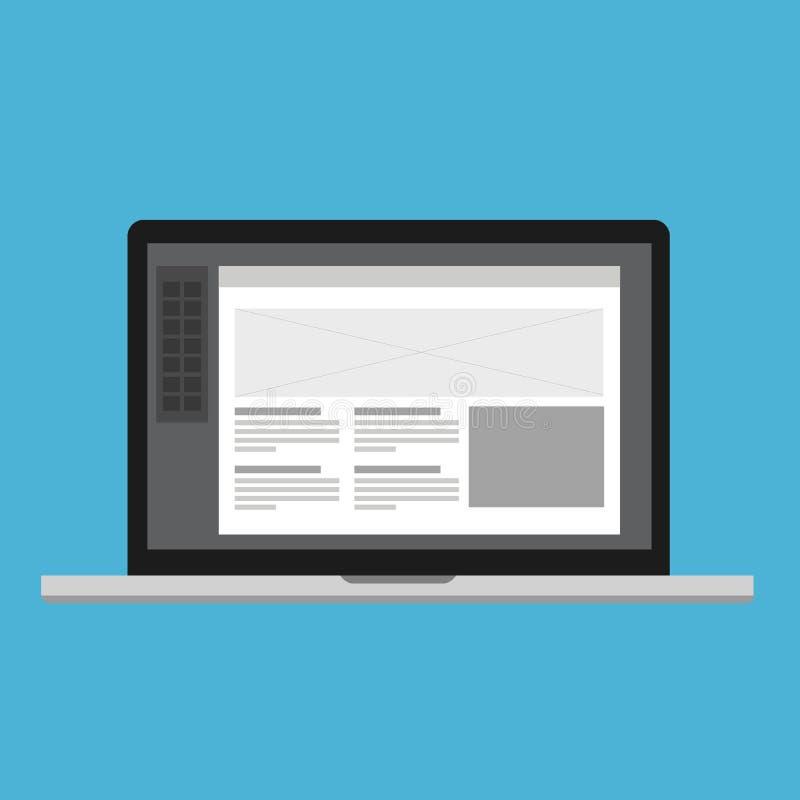 Processo de desenvolvimento da Web do portátil do software do projeto do ui ix de Wireframe ilustração stock