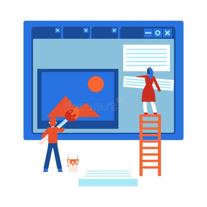 Processo de desenvolvimento do projeto da site - ilustração lisa isolada do vetor dos desenhos animados ilustração royalty free