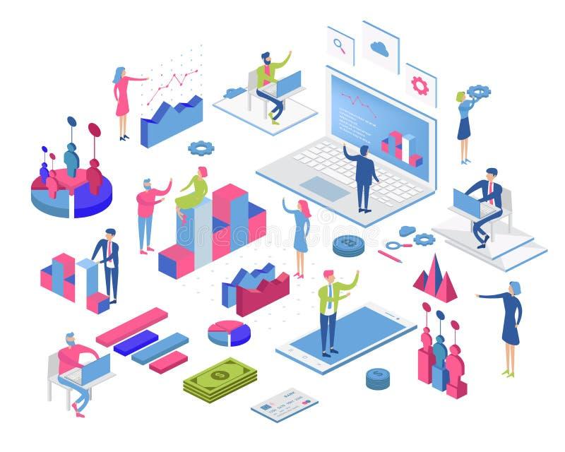 Processo de desenvolvimento móvel da aplicação e do design web para o conceito responsivo do dispositivo com funcionamento da equ ilustração do vetor