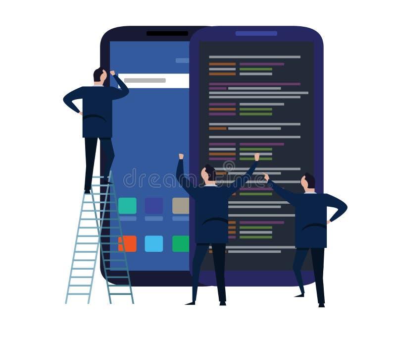 Processo de desenvolvimento móvel da aplicação e do projeto para o conceito responsivo do dispositivo com funcionamento da equipe ilustração royalty free