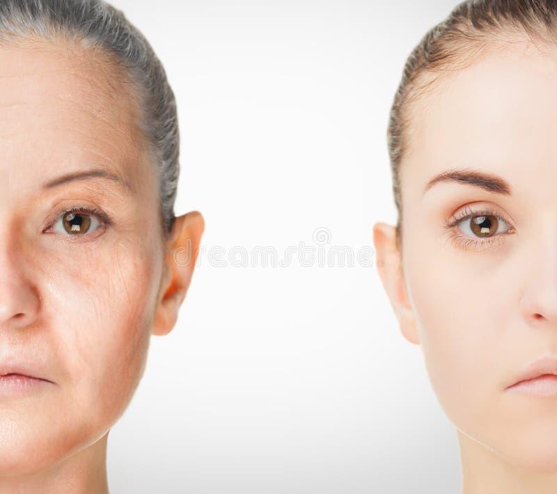Processo de envelhecimento, procedimentos antienvelhecimento da pele do rejuvenescimento foto de stock royalty free