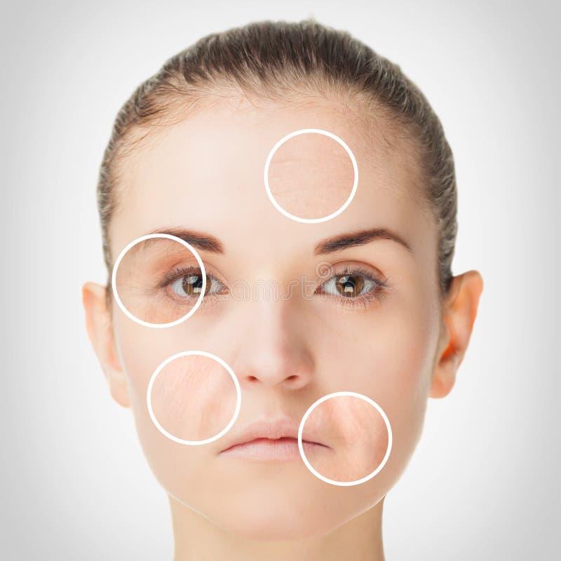 Processo de envelhecimento, procedimentos antienvelhecimento da pele do rejuvenescimento imagem de stock