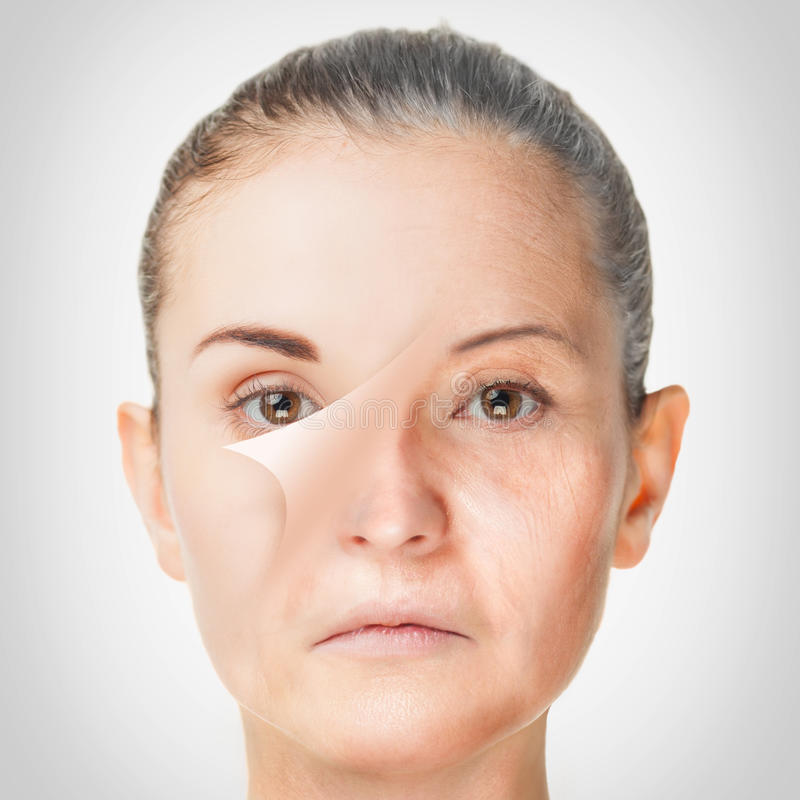 Processo de envelhecimento, procedimentos antienvelhecimento da pele do rejuvenescimento fotografia de stock royalty free