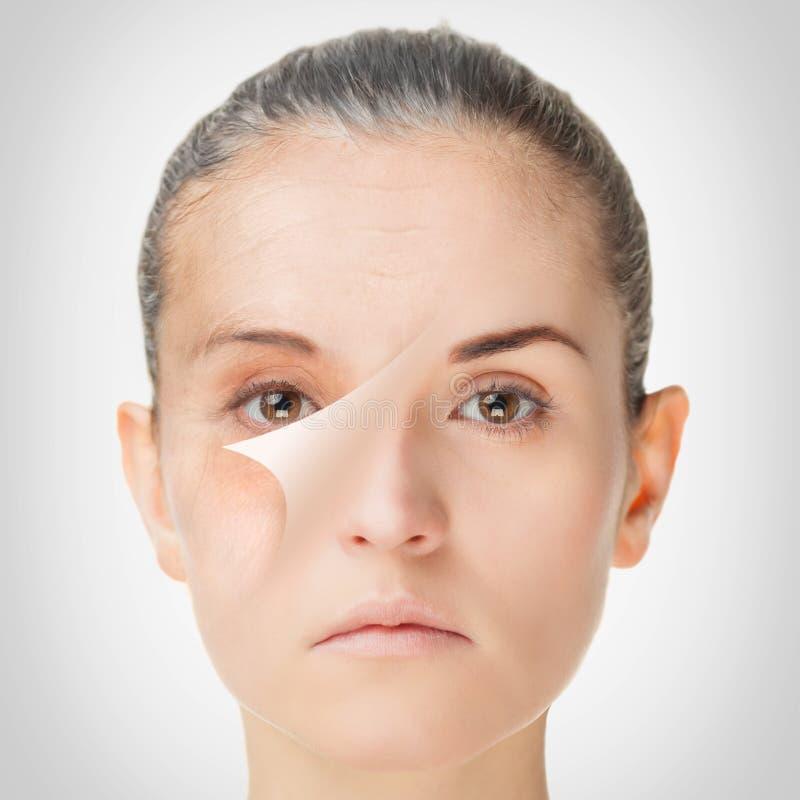 Processo de envelhecimento, procedimentos antienvelhecimento da pele do rejuvenescimento imagens de stock