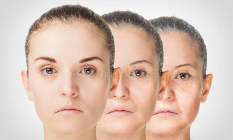 Processo de envelhecimento, procedimentos antienvelhecimento da pele do rejuvenescimento foto de stock