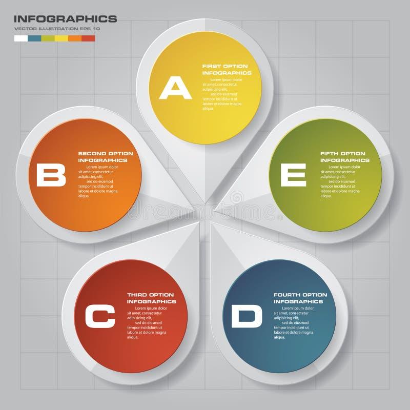 processo de 5 etapas Elemento do projeto do sumário de Simple&Editable ilustração do vetor