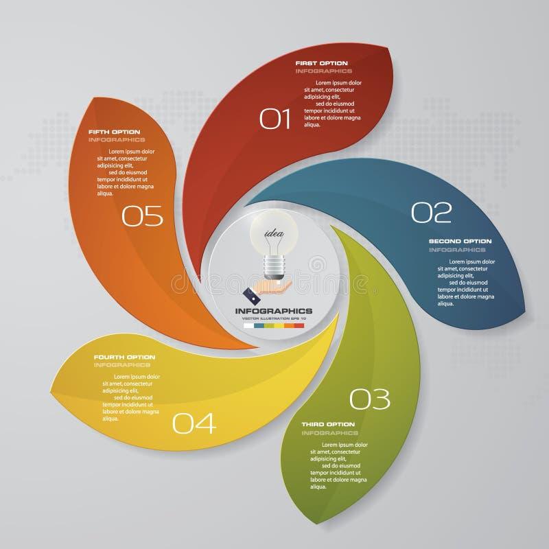 processo de 5 etapas Elemento do projeto do sumário de Simple&Editable Vetor ilustração do vetor