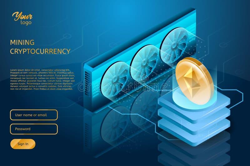 Processo de minar o cryptocurrency Exploração agrícola do servidor de Ethereum Tecnologia de Blockchain ilustração royalty free