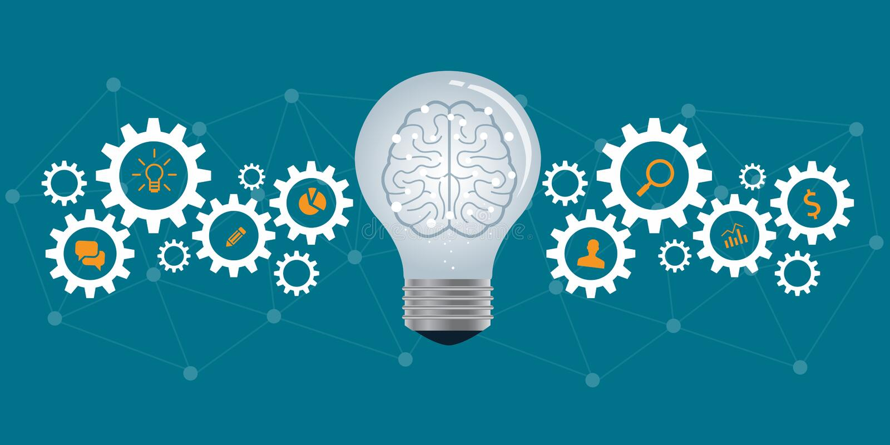 Processo de negócios e conceito criativo do negócio ilustração stock