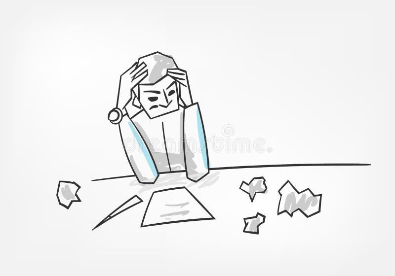 Processo de pensamento do homem que escreve a ilustração do vetor do conceito da letra ilustração stock