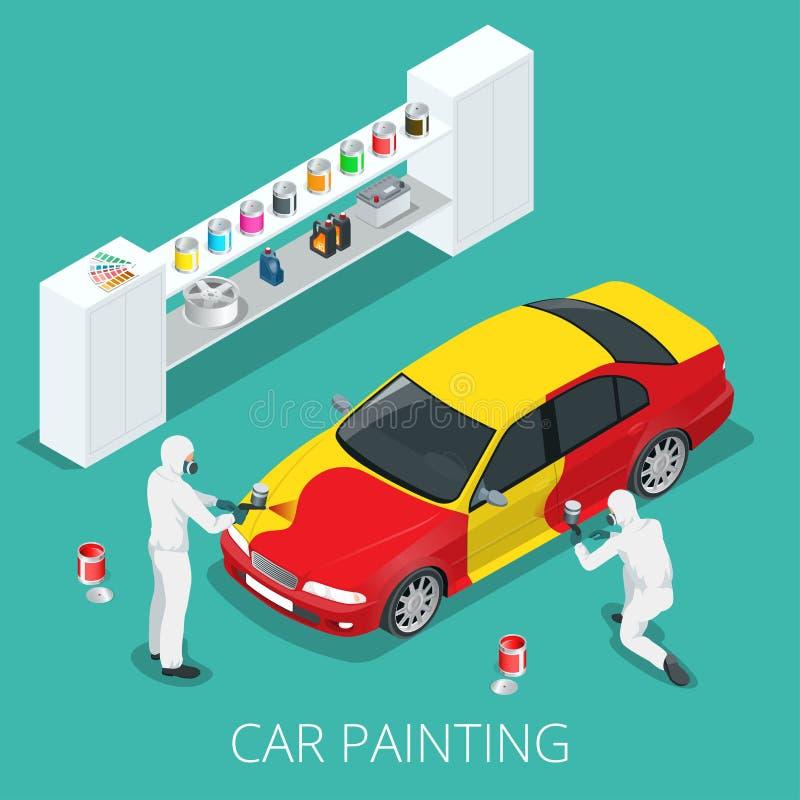 Processo de pintura do carro ilustração do vetor