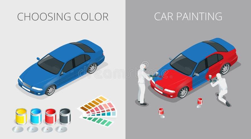 Processo de pintura do carro ilustração royalty free