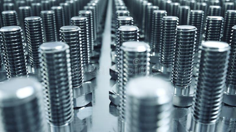 Processo de produção de parafusos Conceito industrial Equipamento e macine da fábrica aço rendição 3d ilustração stock