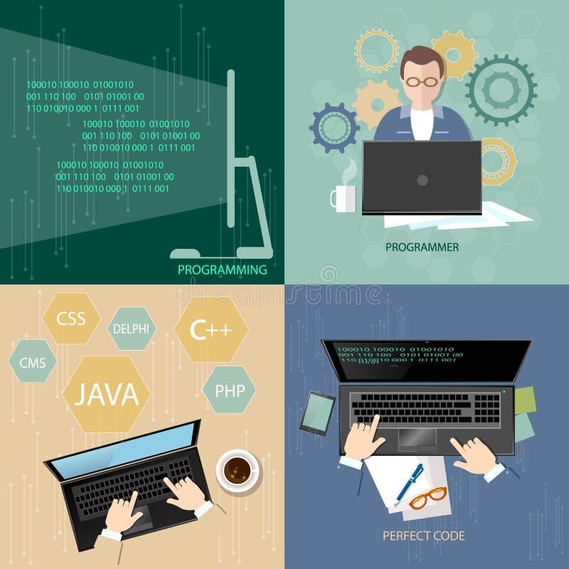 Processo de programação do conceito que codifica programadores do desktop dos trabalhos de equipa ilustração royalty free